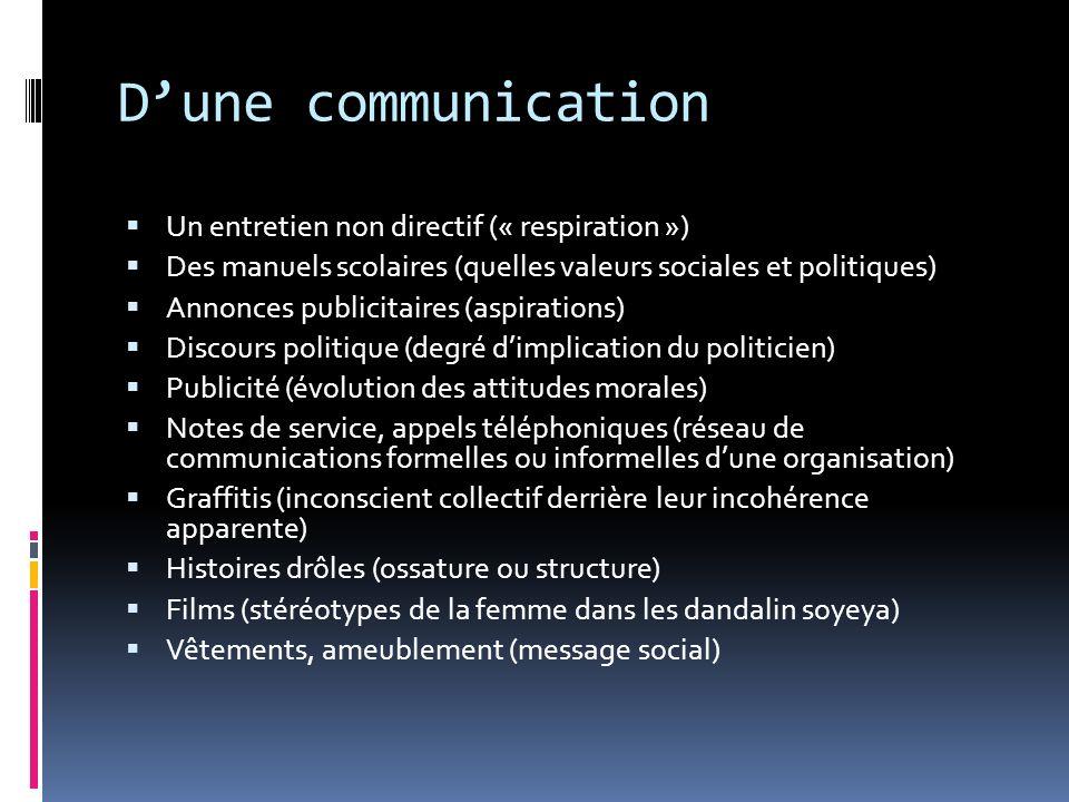 Dune communication Un entretien non directif (« respiration ») Des manuels scolaires (quelles valeurs sociales et politiques) Annonces publicitaires (
