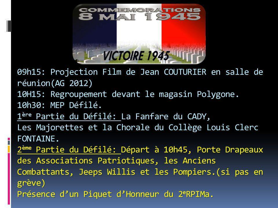 09h15: Projection Film de Jean COUTURIER en salle de réunion(AG 2012) 10H15: Regroupement devant le magasin Polygone. 10h30: MEP Défilé. 1 ère 1 ère P