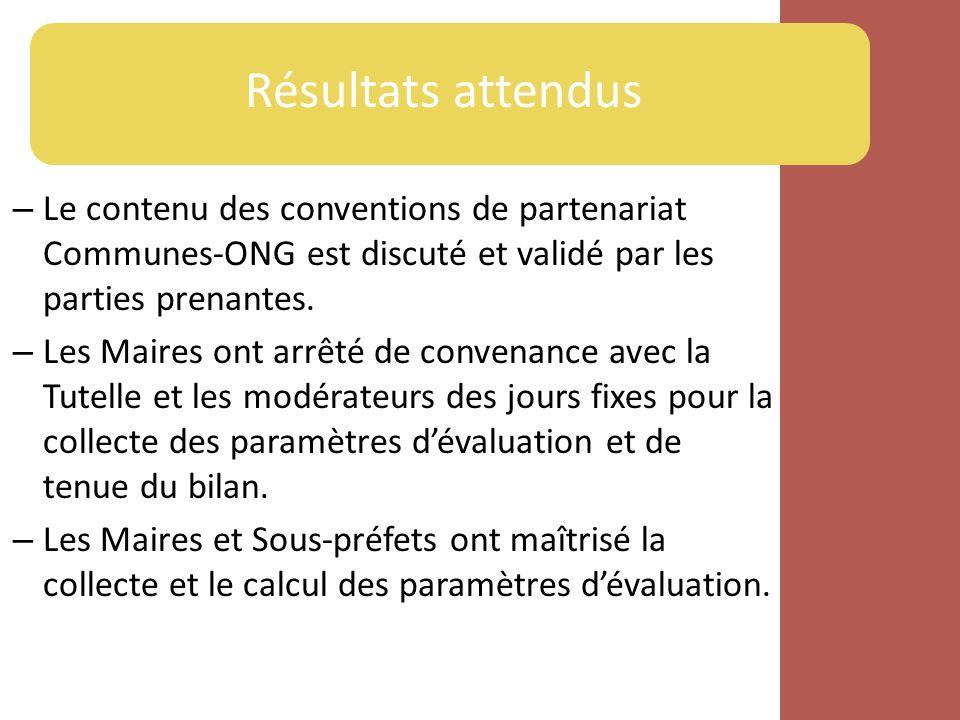 – Le contenu des conventions de partenariat Communes-ONG est discuté et validé par les parties prenantes.