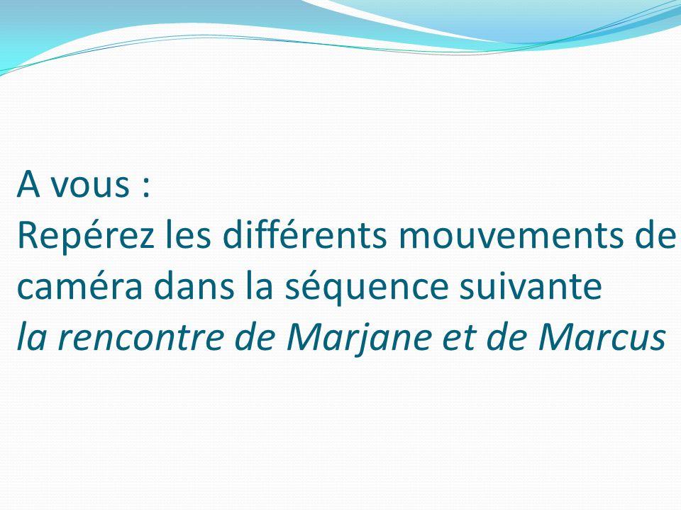A vous : Repérez les différents mouvements de caméra dans la séquence suivante la rencontre de Marjane et de Marcus