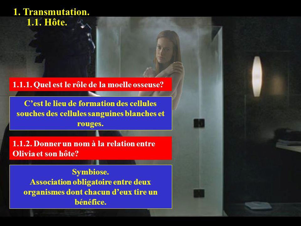 1. Transmutation. 1.1. Hôte. 1.1.1. Quel est le rôle de la moelle osseuse? Cest le lieu de formation des cellules souches des cellules sanguines blanc