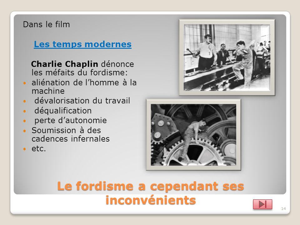 13 Fordisme = taylorisme +chaîne de montage + standardisation Augmentation de la productivité Baisse des prix Augmentation des salaires Consommation d
