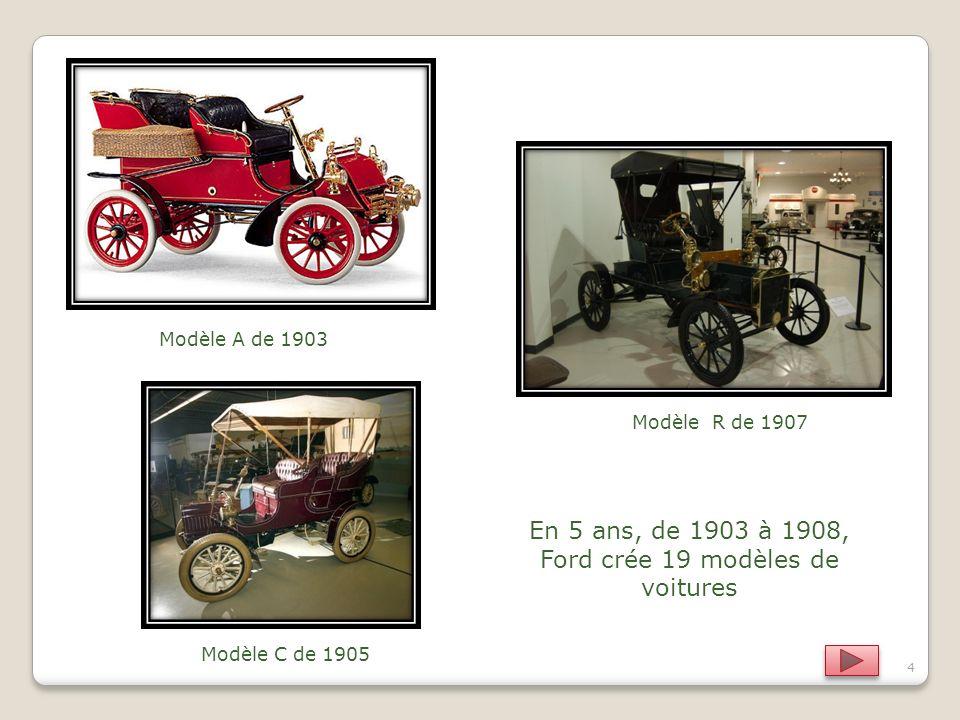 Modèle A de 1903 Modèle R de 1907 Modèle C de 1905 4 En 5 ans, de 1903 à 1908, Ford crée 19 modèles de voitures