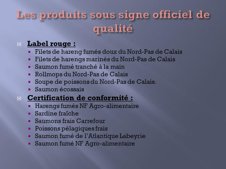 Label rouge : Filets de hareng fumés doux du Nord-Pas de Calais Filets de harengs marinés du Nord-Pas de Calais Saumon fumé tranché à la main Rollmops