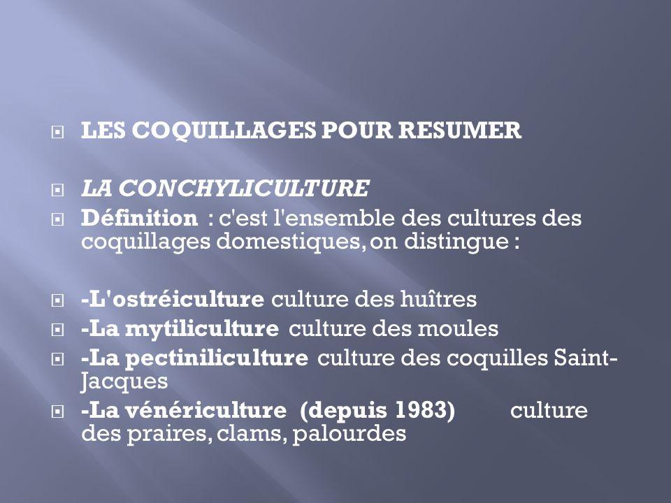 LES COQUILLAGES POUR RESUMER LA CONCHYLICULTURE Définition : c'est l'ensemble des cultures des coquillages domestiques, on distingue : -L'ostréicultur