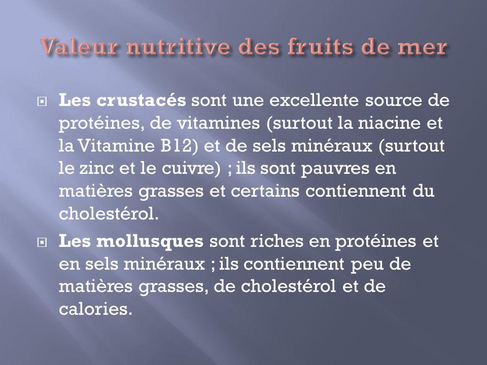 Les crustacés sont une excellente source de protéines, de vitamines (surtout la niacine et la Vitamine B12) et de sels minéraux (surtout le zinc et le