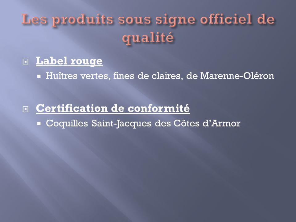 Label rouge Huîtres vertes, fines de claires, de Marenne-Oléron Certification de conformité Coquilles Saint-Jacques des Côtes dArmor
