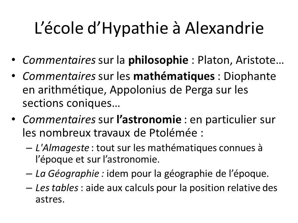 Lécole dHypathie à Alexandrie Commentaires sur la philosophie : Platon, Aristote… Commentaires sur les mathématiques : Diophante en arithmétique, Appo
