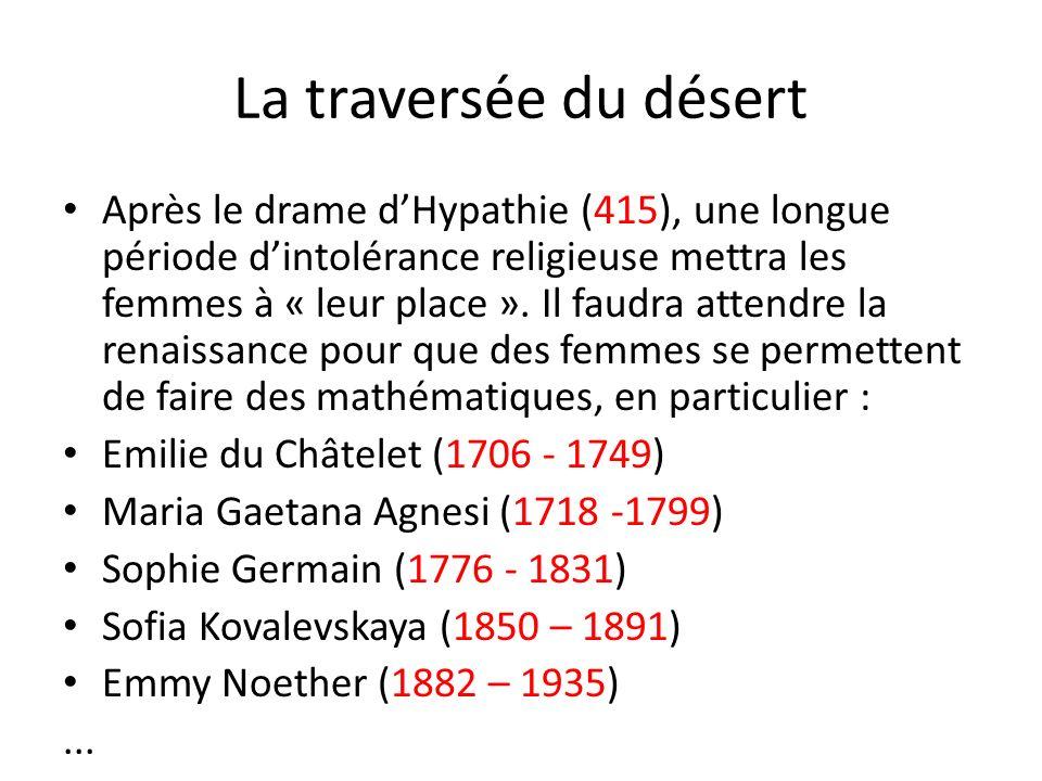 La traversée du désert Après le drame dHypathie (415), une longue période dintolérance religieuse mettra les femmes à « leur place ». Il faudra attend
