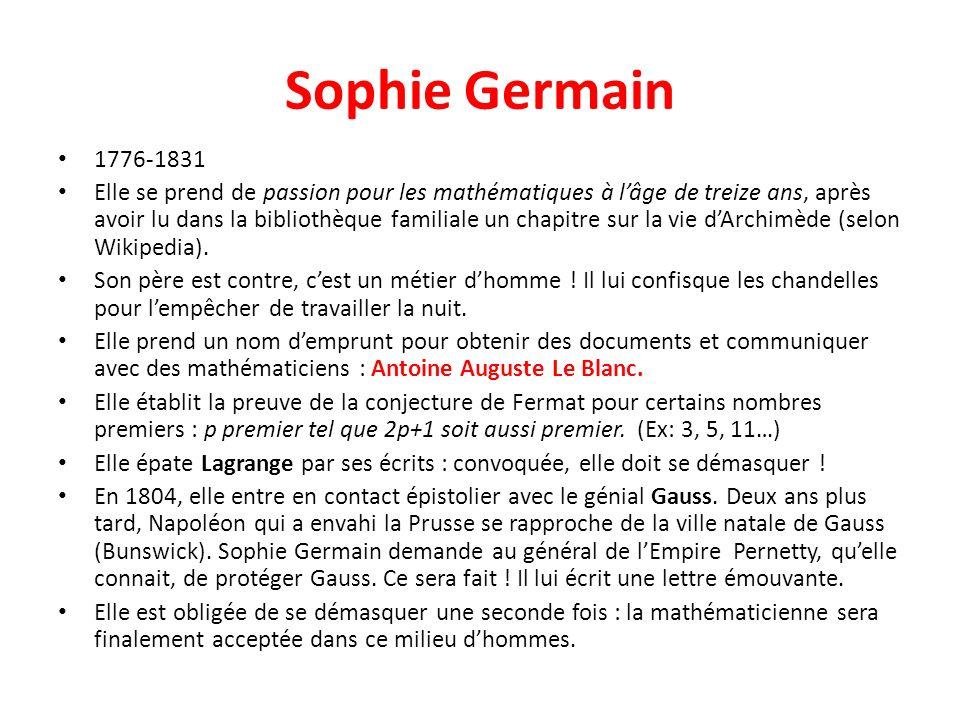 Sophie Germain 1776-1831 Elle se prend de passion pour les mathématiques à lâge de treize ans, après avoir lu dans la bibliothèque familiale un chapit
