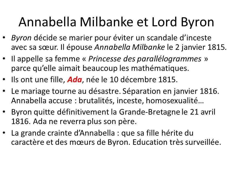 Annabella Milbanke et Lord Byron Byron décide se marier pour éviter un scandale dinceste avec sa sœur. Il épouse Annabella Milbanke le 2 janvier 1815.