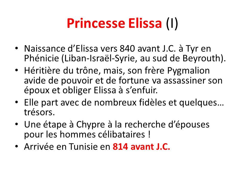 Princesse Elissa (I) Naissance dElissa vers 840 avant J.C. à Tyr en Phénicie (Liban-Israël-Syrie, au sud de Beyrouth). Héritière du trône, mais, son f