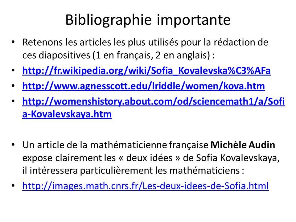 Bibliographie importante Retenons les articles les plus utilisés pour la rédaction de ces diapositives (1 en français, 2 en anglais) : http://fr.wikip