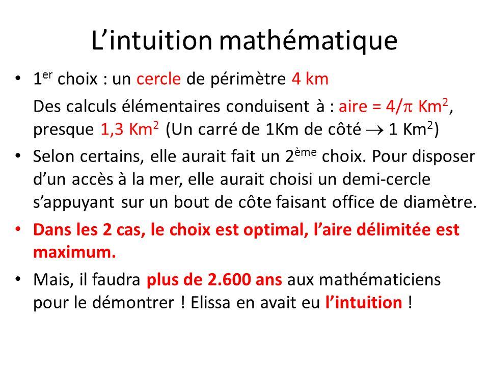 Lintuition mathématique 1 er choix : un cercle de périmètre 4 km Des calculs élémentaires conduisent à : aire = 4/ Km 2, presque 1,3 Km 2 (Un carré de