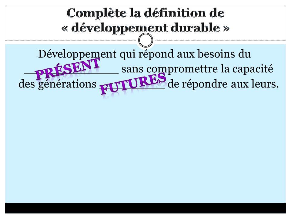 Développement qui répond aux besoins du _____________ sans compromettre la capacité des générations _________ de répondre aux leurs.