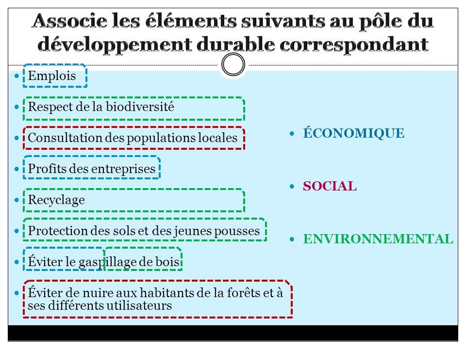 ÉCONOMIQUE SOCIAL ENVIRONNEMENTAL Emplois Respect de la biodiversité Consultation des populations locales Profits des entreprises Recyclage Protection