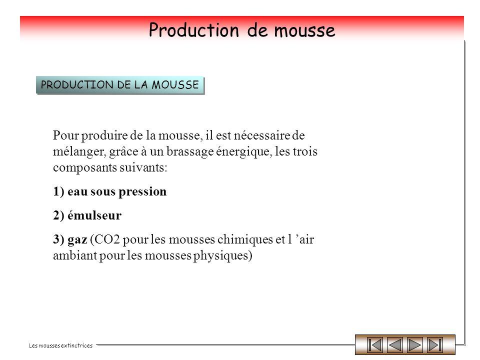 Les mousses extinctrices Production de mousse Pour produire de la mousse, il est nécessaire de mélanger, grâce à un brassage énergique, les trois comp