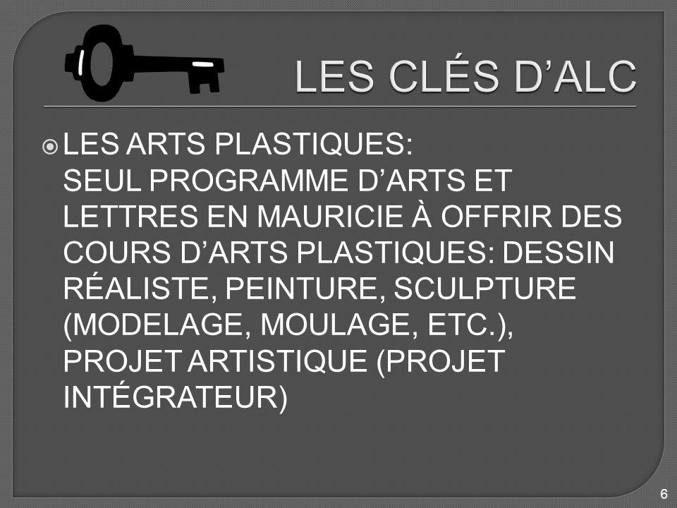 LES ARTS PLASTIQUES: SEUL PROGRAMME DARTS ET LETTRES EN MAURICIE À OFFRIR DES COURS DARTS PLASTIQUES: DESSIN RÉALISTE, PEINTURE, SCULPTURE (MODELAGE, MOULAGE, ETC.), PROJET ARTISTIQUE (PROJET INTÉGRATEUR) 6