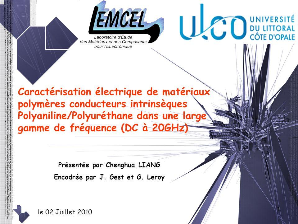 1 Présentée par Chenghua LIANG Encadrée par J. Gest et G. Leroy le 02 Juillet 2010 Caractérisation électrique de matériaux polymères conducteurs intri