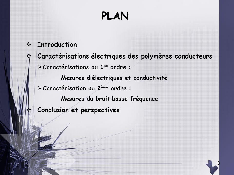 3 Introduction Caractérisations électriques des polymères conducteurs Caractérisations au 1 er ordre : Mesures diélectriques et conductivité Caractéri