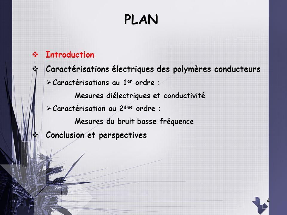 4 Introduction Caractérisations électriques des polymères conducteurs Caractérisations au 1 er ordre : Mesures diélectriques et conductivité Caractéri