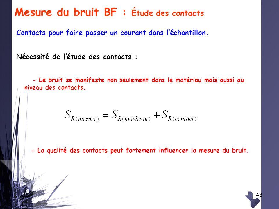 43 Mesure du bruit BF : Étude des contacts - La qualité des contacts peut fortement influencer la mesure du bruit. Nécessité de létude des contacts :