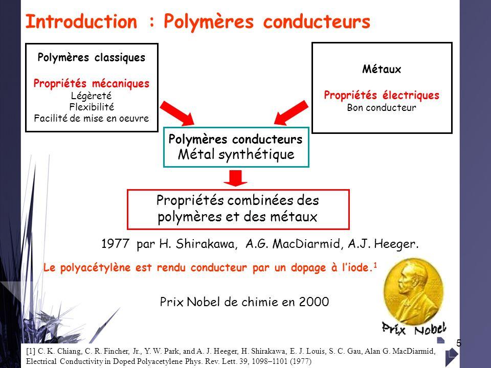 5 Introduction : Polymères conducteurs Polymères classiques Propriétés mécaniques Légèreté Flexibilité Facilité de mise en oeuvre Métaux Propriétés él