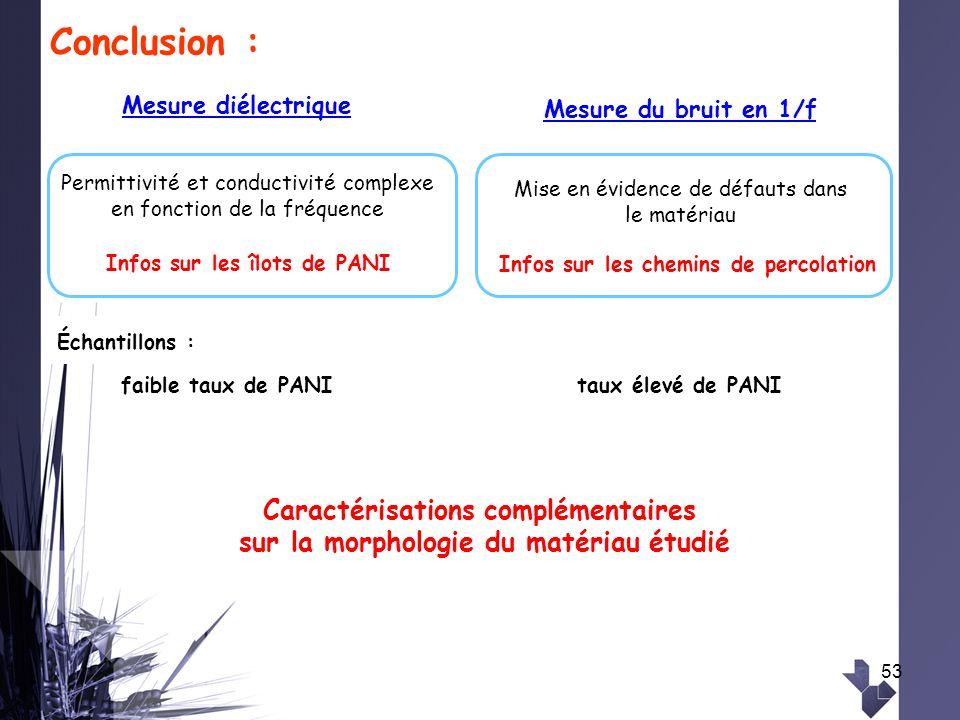 53 Conclusion : Mesure diélectrique Mesure du bruit en 1/f Caractérisations complémentaires sur la morphologie du matériau étudié Infos sur les îlots