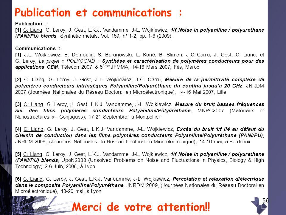 56 Publication et communications : Merci de votre attention!! Publication : [1] C. Liang, G. Leroy, J. Gest, L.K.J. Vandamme, J-L. Wojkiewicz, 1/f Noi