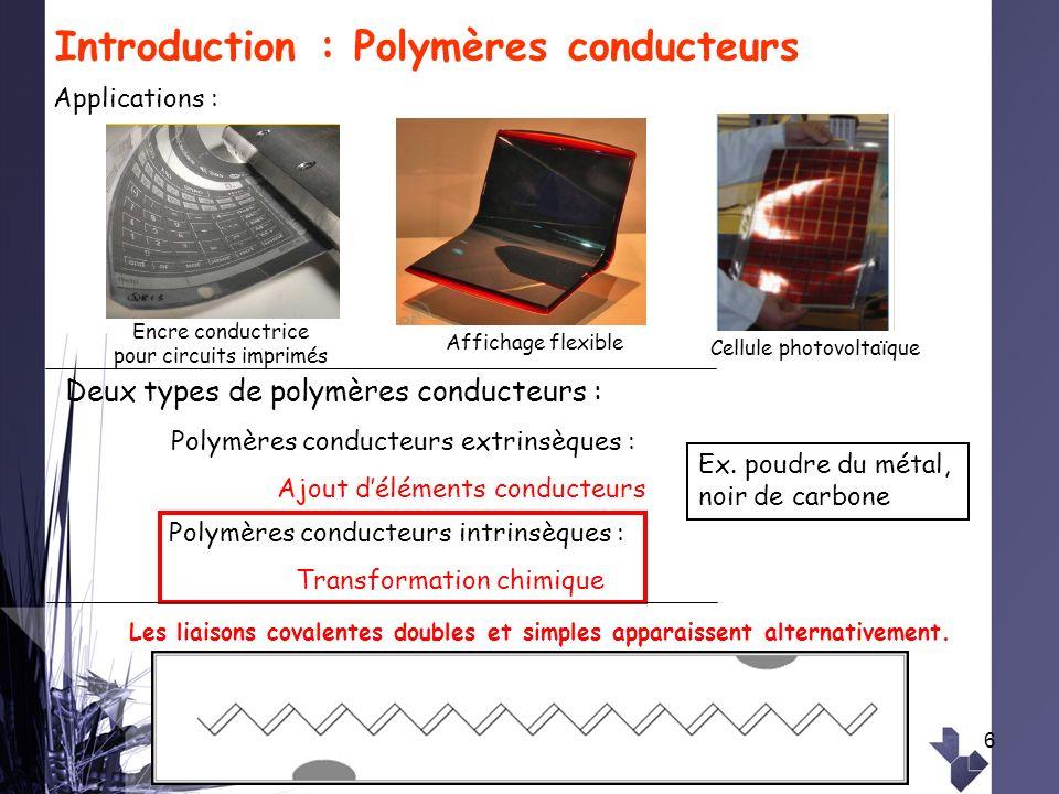 6 Introduction : Polymères conducteurs Applications : Deux types de polymères conducteurs : Polymères conducteurs extrinsèques : Ajout déléments condu
