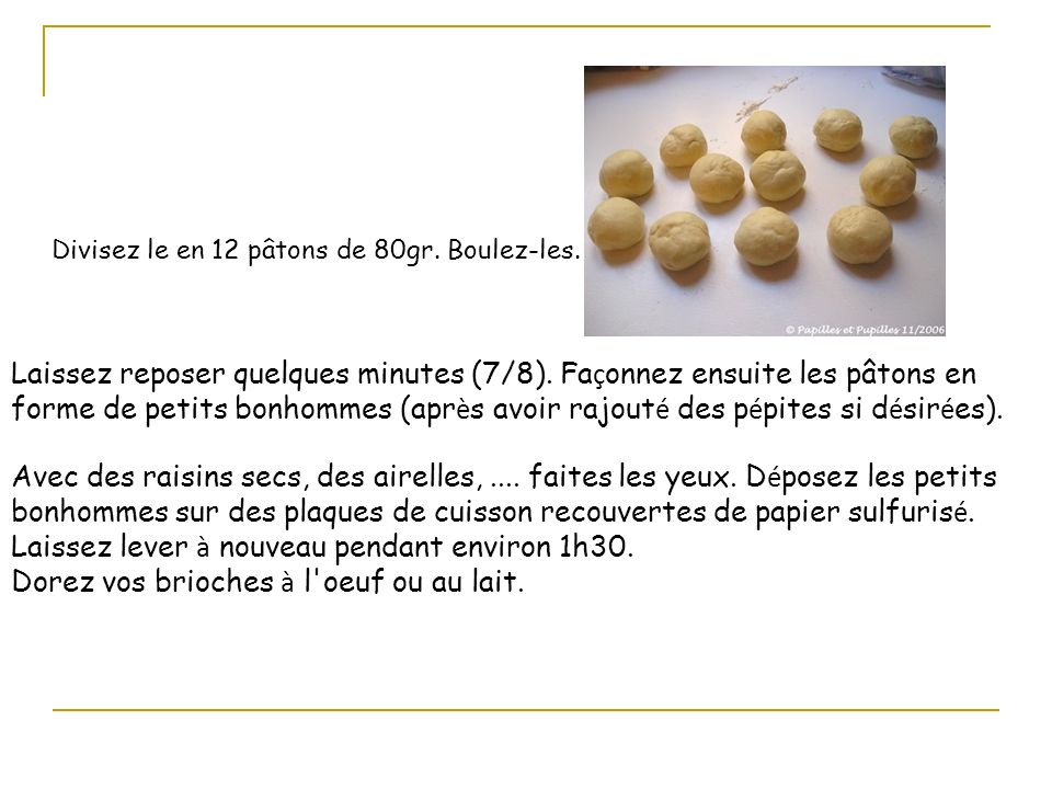 Divisez le en 12 pâtons de 80gr. Boulez-les. Laissez reposer quelques minutes (7/8). Fa ç onnez ensuite les pâtons en forme de petits bonhommes (apr è