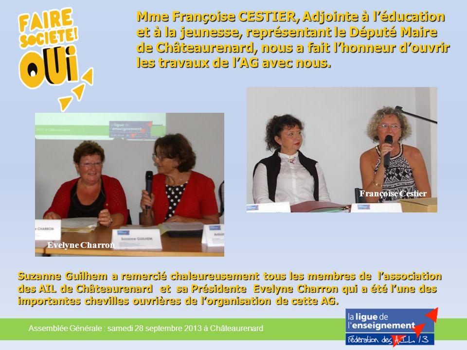 Suzanne Guilhem a remercié chaleureusement tous les membres de lassociation des AIL de Châteaurenard et sa Présidente Evelyne Charron qui a été lune d