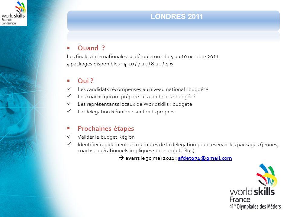 Quand ? Les finales internationales se dérouleront du 4 au 10 octobre 2011 4 packages disponibles : 4-10 / 7-10 / 8-10 / 4-6 Qui ? Les candidats récom
