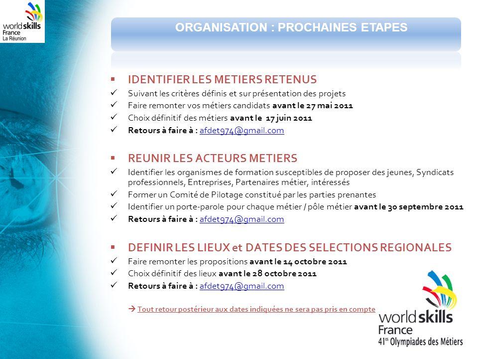 IDENTIFIER LES METIERS RETENUS Suivant les critères définis et sur présentation des projets Faire remonter vos métiers candidats avant le 27 mai 2011