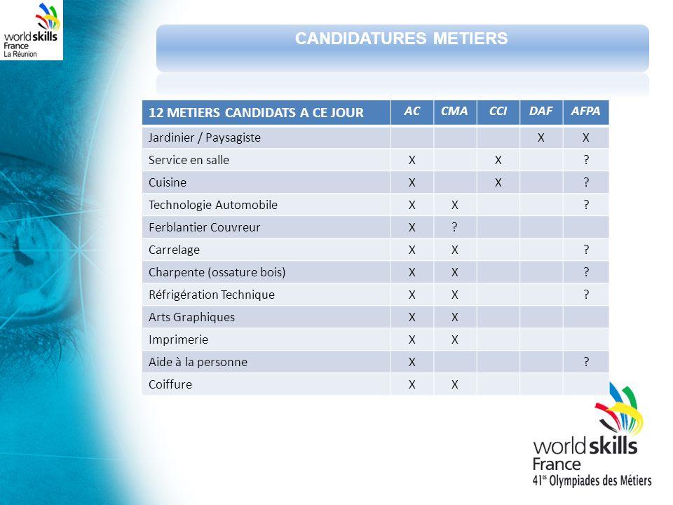 12 METIERS CANDIDATS A CE JOUR ACCMACCIDAFAFPA Jardinier / PaysagisteXX Service en salleXX.