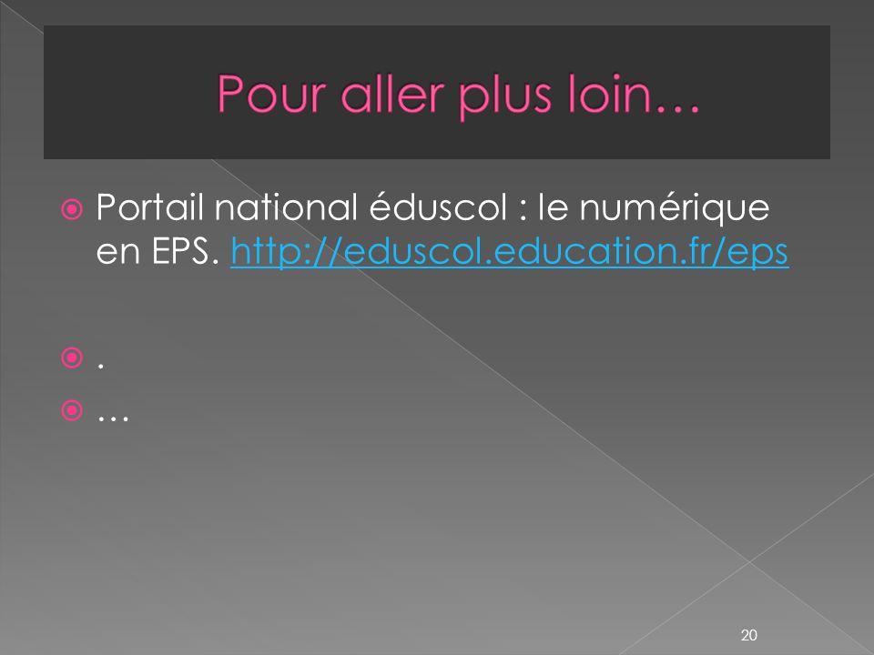 Portail national éduscol : le numérique en EPS.