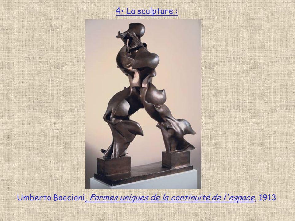 4 La sculpture : Umberto Boccioni, Formes uniques de la continuité de l espace, 1913