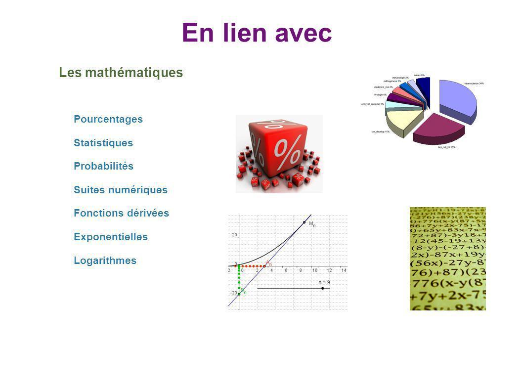 En lien avec Les mathématiques Pourcentages Statistiques Probabilités Suites numériques Fonctions dérivées Exponentielles Logarithmes