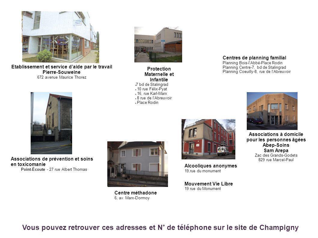 Etablissement et service daide par le travail Pierre-Souweine 672 avenue Maurice Thorez Centres de planning familial Planning Bois-l'Abbé-Place Rodin