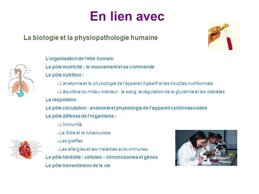 En lien avec La biologie et la physiopathologie humaine Lorganisation de lêtre humain Le pôle motricité : le mouvement et sa commande Le pôle nutritio