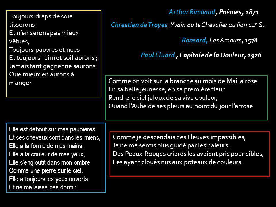 Chrestien de Troyes, Yvain ou le Chevalier au lion 12 e S.. Ronsard, Les Amours, 1578 Arthur Rimbaud, Poèmes, 1871 Paul Éluard, Capitale de la Douleur