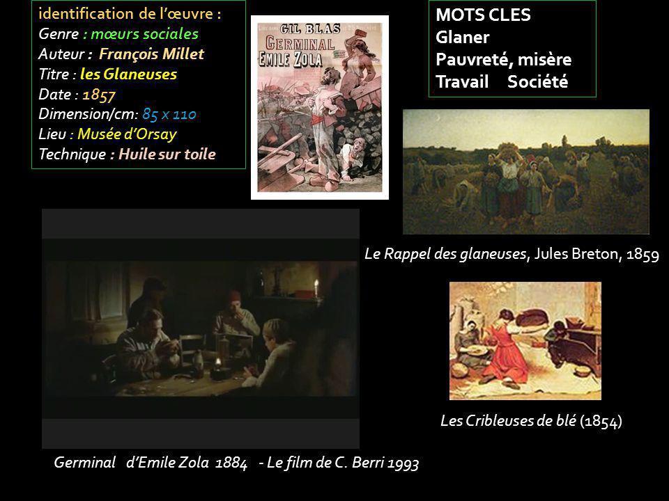 identification de lœuvre : Genre : mœurs sociales Auteur : François Millet Titre : les Glaneuses Date : 1857 Dimension/cm: 85 x 110 Lieu : Musée dOrsa