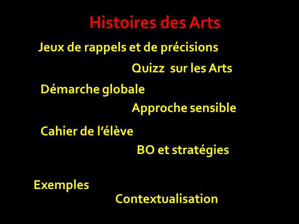 Contextualisation Exemples BO et stratégies Cahier de lélève Approche sensible Démarche globale Quizz sur les Arts Jeux de rappels et de précisions