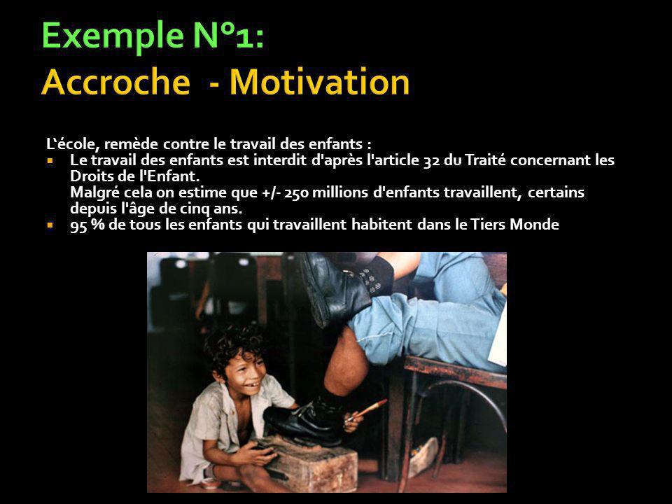 Lécole, remède contre le travail des enfants : Le travail des enfants est interdit d après l article 32 du Traité concernant les Droits de l Enfant.