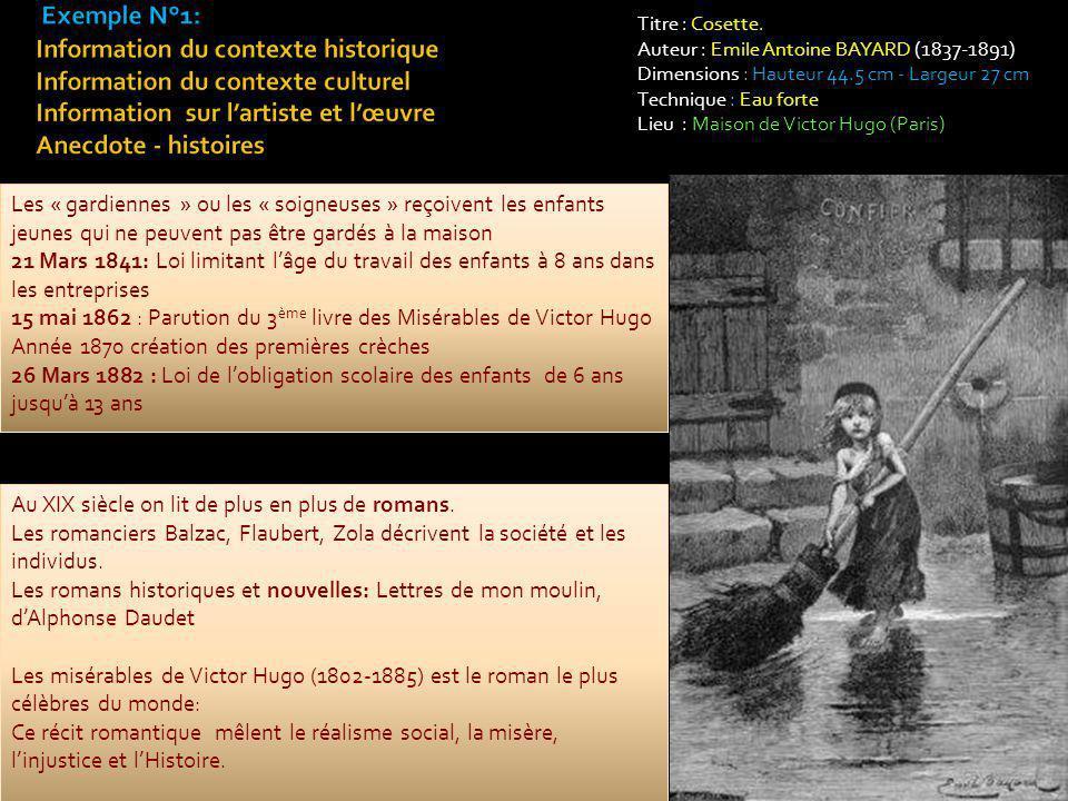 Titre : Cosette. Auteur : Emile Antoine BAYARD (1837-1891) Dimensions : Hauteur 44.5 cm - Largeur 27 cm Technique : Eau forte Lieu : Maison de Victor