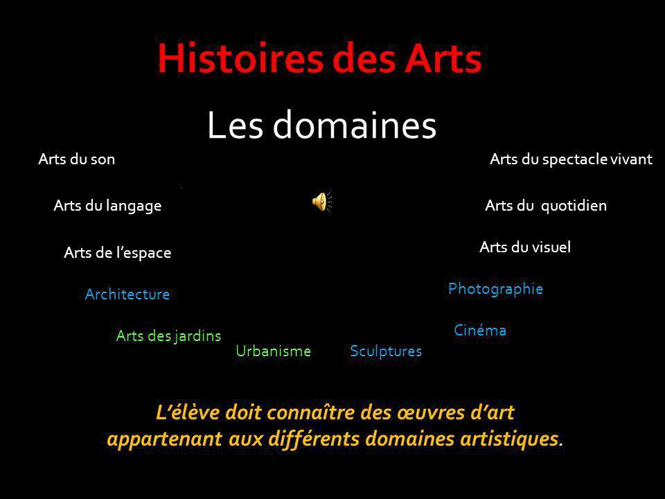Les domaines Lélève doit connaître des œuvres dart appartenant aux différents domaines artistiques. Arts du son Arts du langage Arts de lespace Archit