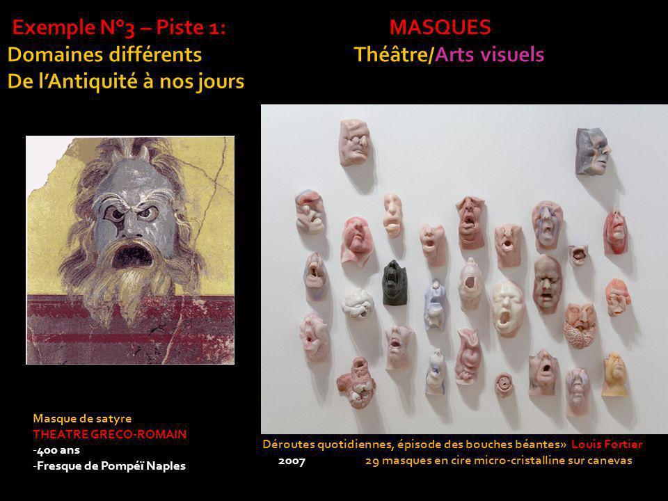 Déroutes quotidiennes, épisode des bouches béantes» Louis Fortier 2007 29 masques en cire micro-cristalline sur canevas 140 x 158 cm Masque de satyre THEATRE GRECO-ROMAIN -400 ans -Fresque de Pompéï Naples