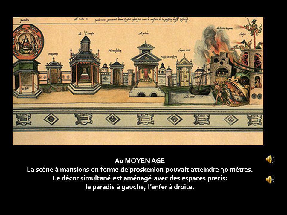 Au MOYEN AGE La scène à mansions en forme de proskenion pouvait atteindre 30 mètres.