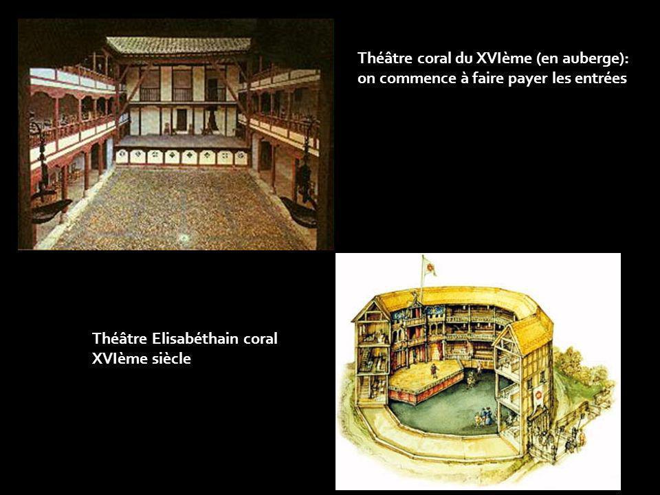 Théâtre Elisabéthain coral XVIème siècle Théâtre coral du XVIème (en auberge): on commence à faire payer les entrées