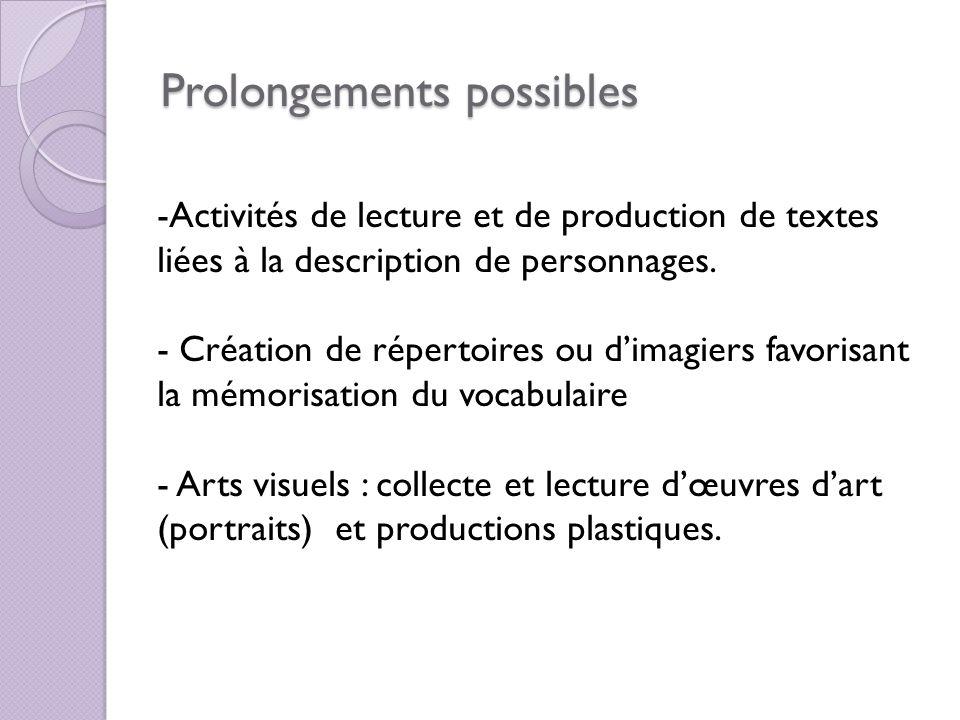 Prolongements possibles -Activités de lecture et de production de textes liées à la description de personnages. - Création de répertoires ou dimagiers
